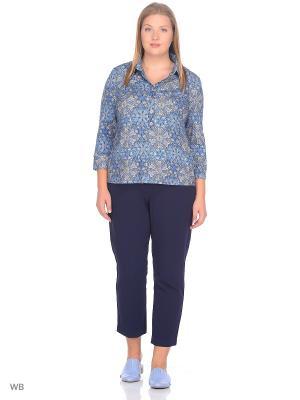 Блузка СТиКО. Цвет: синий, бежевый, голубой