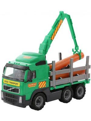 Volvo, автомобиль-лесовоз (в коробке) Полесье.. Цвет: зеленый