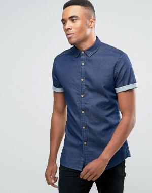 ASOS Темная джинсовая рубашка суперузкого кроя. Цвет: темно-синий