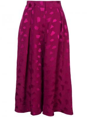 Расклешенные кюлоты с вышивкой Co. Цвет: розовый и фиолетовый