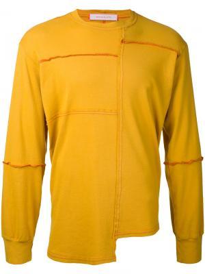 Футболка лоскутного кроя Eckhaus Latta. Цвет: жёлтый и оранжевый