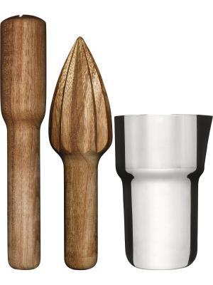 Набор для коктейля, 3 предмета - стакан, выжиматель цитрусовых, пестик. Sagaform. Цвет: серебристый, светло-коричневый