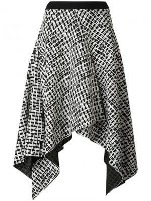 Асимметричная юбка с мелким принтом Proenza Schouler. Цвет: чёрный