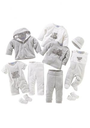 Комплект для новорожденного, 10 частей KLITZEKLEIN. Цвет: белый/серый