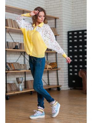 Блуза Летучая мышь Вестетика. Цвет: желтый