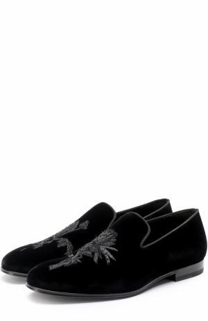 Текстильные слиперы с вышивкой Alexander McQueen. Цвет: черный