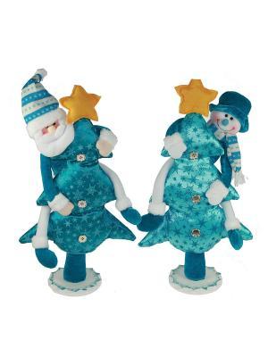 Новогодняя композиция снеговик на ёлке Русские подарки. Цвет: голубой, белый