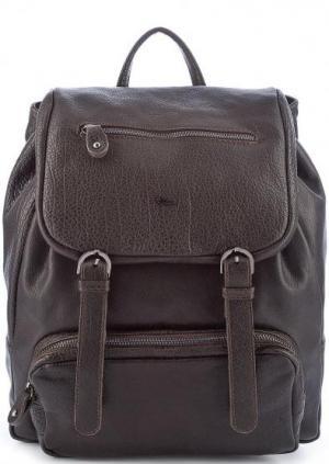 Темно-коричневый рюкзак из фактурной кожи Bruno Rossi. Цвет: коричневый