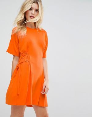 ASOS Платье-футболка мини с корсетом. Цвет: оранжевый
