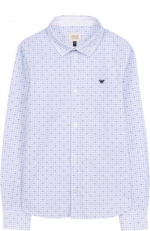 Хлопковая рубашка с принтом Armani Junior. Цвет: голубой