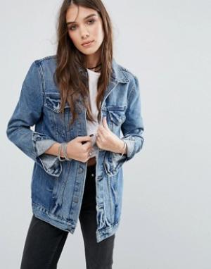 Lovers + Friends Удлиненная джинсовая куртка. Цвет: синий