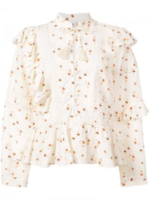 Блузка с цветочным рисунком и оборками Sea. Цвет: белый