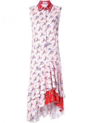 Платье-рубашка с цветочным принтом Preen By Thornton Bregazzi. Цвет: розовый и фиолетовый