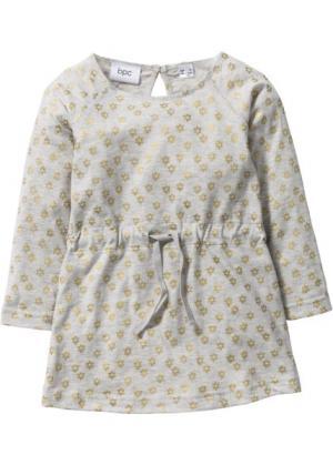 Трикотажное платье (натуральный меланж/золотистый с рисунком) bonprix. Цвет: натуральный меланж/золотистый с рисунком