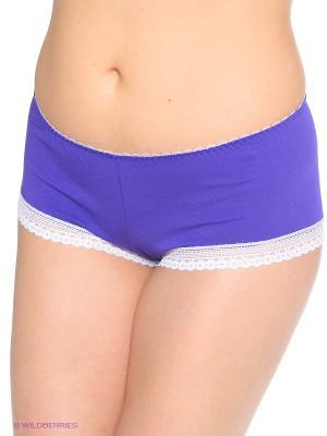Трусы-шорты из хлопка с отделкой кружевом VIVALIA. Цвет: фиолетовый