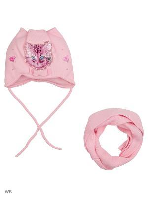 Шапка и шарф Ambra. Цвет: бледно-розовый