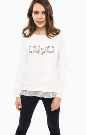Свитшот с вышивкой и кружевной отделкой Liu Jo Sport. Цвет: белый
