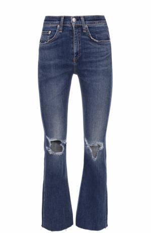 Укороченные расклешенные джинсы с потертостями Rag&Bone. Цвет: синий