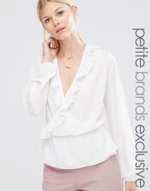 Alter Petite Блузка с длинными рукавами и запахом оборками. Цвет: кремовый