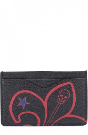 Кожаный футляр для кредитных карт с принтом Alexander McQueen. Цвет: темно-синий