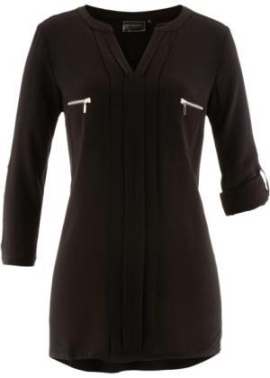 Блузка с воротником-стойкой (черный) bonprix. Цвет: черный