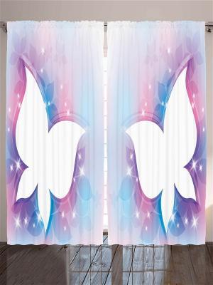 Комплект фотоштор для гостиной Яркие бабочки, плотность ткани 175 г/кв.м, 290*265 см Magic Lady. Цвет: бежевый, белый, голубой, красный, лиловый, молочный, сиреневый, фиолетовый