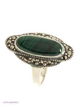 Кольцо МАРКАЗИТ. Цвет: серебристый, зеленый
