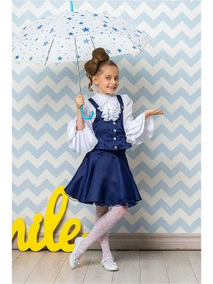Костюм для девочек (блузка, юбка, жилет) Perlitta. Цвет: синий