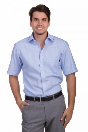 Рубашка с коротким рукавом Olymp. Цвет: голубой