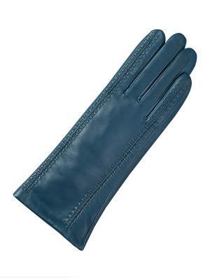 Кожаные перчатки ESMEE. Цвет: синий, бирюзовый