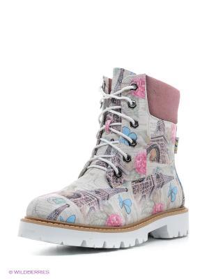 Ботинки Dino Ricci. Цвет: розовый, серый