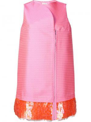Платье с пайетками на подоле Delpozo. Цвет: розовый и фиолетовый