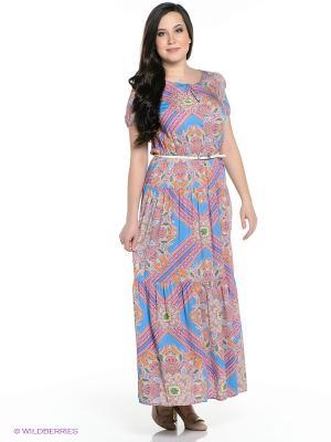 Платье Finn Flare. Цвет: голубой, оранжевый, розовый