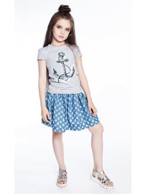 Комплект: футболка, юбка Sheldi. Цвет: серый, голубой