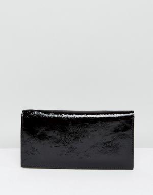 ASOS Блестящий кожаный кошелек. Цвет: черный