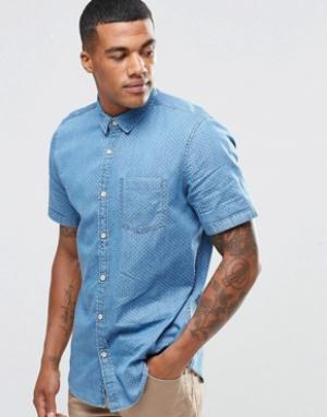 New Look Джинсовая рубашка классического кроя с мелким принтом. Цвет: синий
