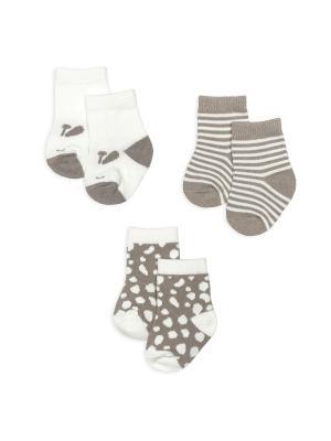 Носочки, 3 пары HappyBabyDays. Цвет: светло-коричневый