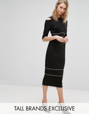 Alter Tall Платье-футляр с вырезами на плечах и кантом. Цвет: черный