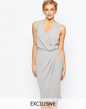 Closet London Платье-футляр миди с запахом спереди. Цвет: серый