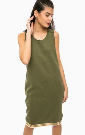 Платье цвета хаки без рукавов Scotch&Soda. Цвет: хаки