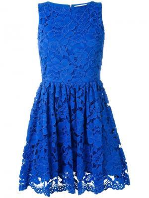 Кружевное мини-платье Alice+Olivia. Цвет: синий