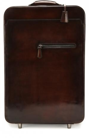 Кожаный дорожный чемодан на колесиках Berluti Bags. Цвет: темно-коричневый
