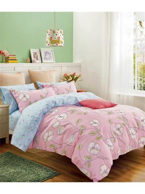 Постельное белье, евро 1st Home. Цвет: голубой, розовый