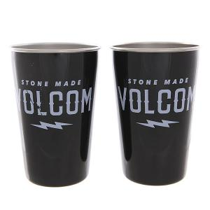 Стакан  Volcom Party Cup Set Glossy Black White Print Mizu. Цвет: черный