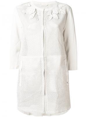 Пиджак без воротника с перфорацией Henry Beguelin. Цвет: телесный
