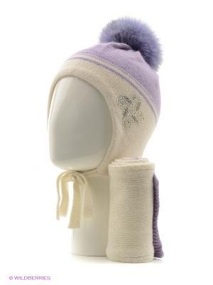 Шапка, шарф FOMAS. Цвет: белый, сиреневый