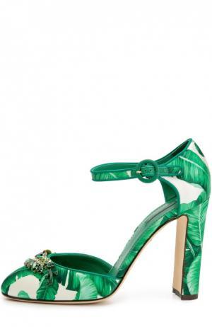Шелковые туфли Vally с принтом и брошью Dolce & Gabbana. Цвет: зеленый
