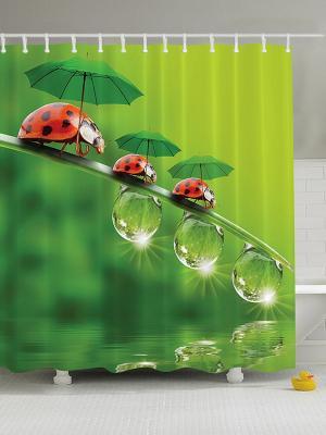 Фотоштора для ванной Весна, лето, осень, 180*200 см Magic Lady. Цвет: зеленый, красный, белый, черный