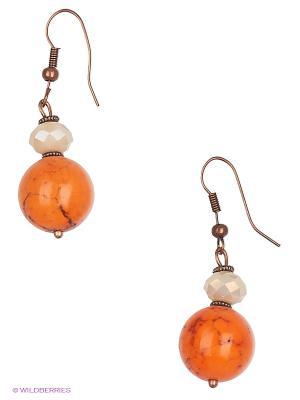 Серьги Роман с камнем. Цвет: оранжевый