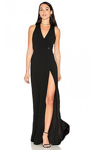 Вечернее платье с запахом tux Haute Hippie. Цвет: черный